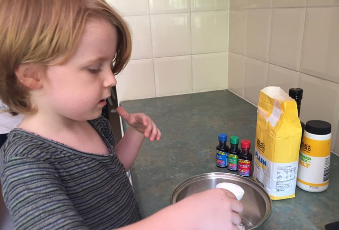 Kids can have fun measuring and mixing the ingredients together