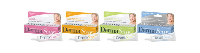 1.DermaScar classic, the original formula, clinically tested; 2. DermaScar Plus E with added antioxidant Vitamin E and moisturising properties; 3. DermaScar Ultra C with added antioxidants Vitamin C helps lighten scars and reduce scar pigmentation; and 4. DermaScar Platinum C&E (see benefits above).