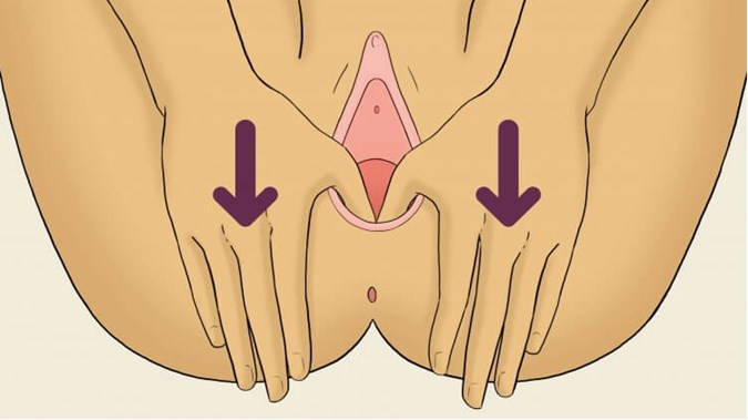 Once The Perineum Has Been Stretched For Two Minutes Or So Gently Move Your Thumb Up Along The Sides Of The Vagina Stretching It From Side To Side