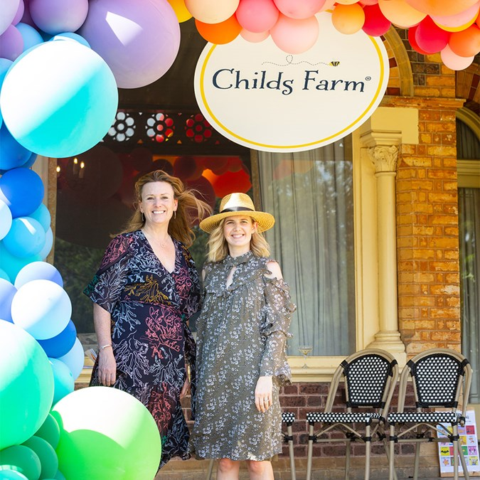 Childs Farm CEO and Founder Joanna Jensen and Tahlia Weston from the Alannah & Madeline Foundation mark the start of a partnership at the brand's launch event in Melbourne