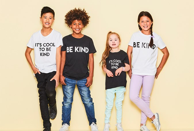 Smiggle kids wearing Kind Is Cool who proudly supports the Alannah & Madeline Foundation by donating $1 from every sale.