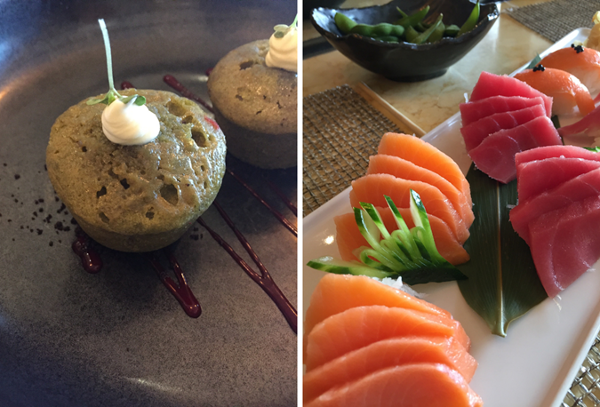 Delicious sashimi and green tea cupcakes from Bonsai Sushi