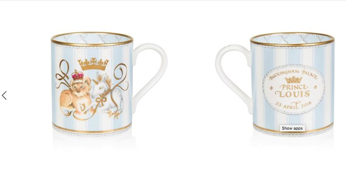 Royal mug to celebrate the birth of Prince Louis.