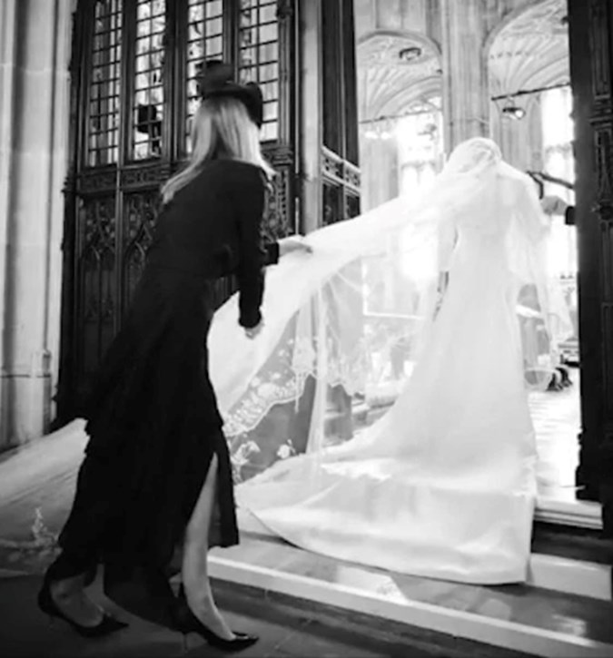 Wedding dress designer Claire Waite Keller with Meghan