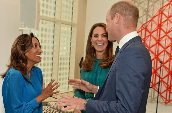 Prince William and Kate Middleton chat with stand-up comedian Shazia Murza during a visit to the Aga Khan Centre. Image: Getty.
