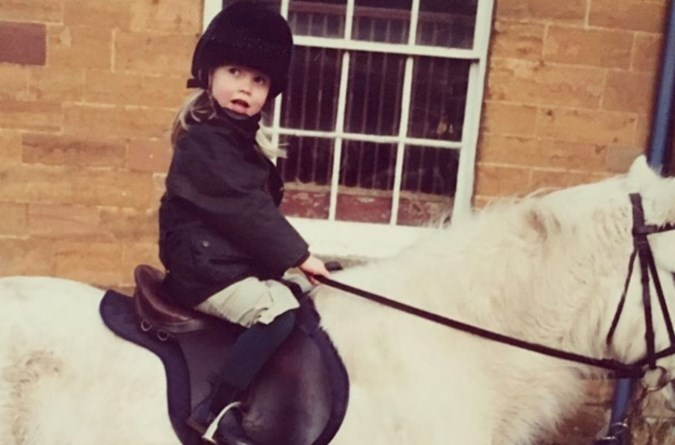 Lady Kitty Spencer shared a photo of herself riding on a horse in 1992 on Instagram.