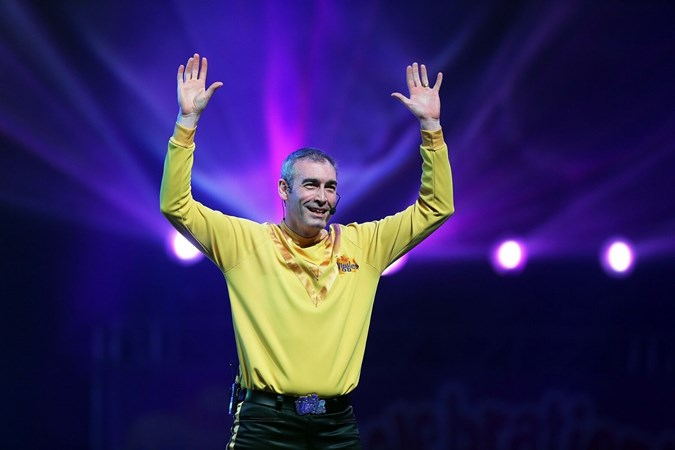 Greg performing as the Yellow Wiggle. Image: Getty