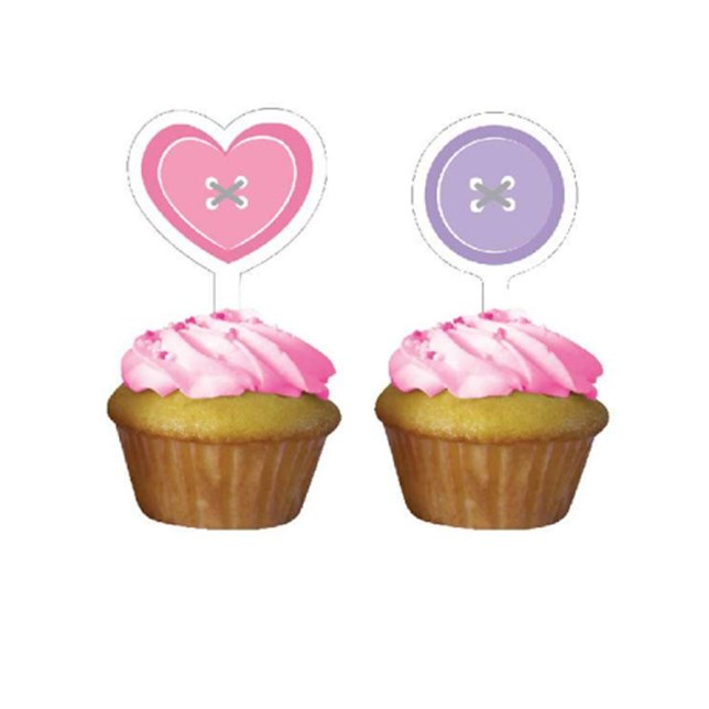 Cute as a Button Girl Baby Shower Cupcake Toppers (Pack of 12)