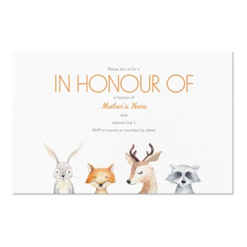 White Woodland Animals Horizontal Flat Invitation - 117 mm x 182 mm