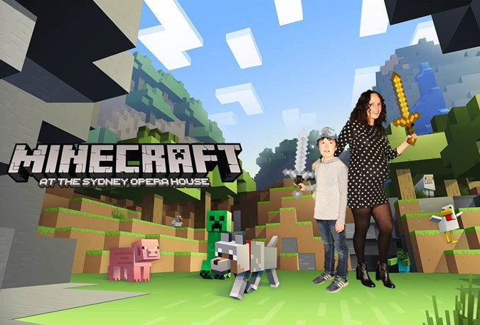 Maxwell and his mum, Practical Parenting Reviews Editor, Franki Hobson, at the Sydney Opera House Xbox Minecraft expo.