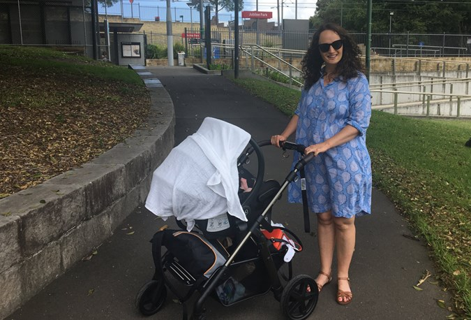 Sunday Summer Strolling. Note: There is a shade canopy on the Maxi-Cosi but not enough for total block out when you are using it with a stroller. Also note all of the crap I take out to a day at the park (see undercarriage).