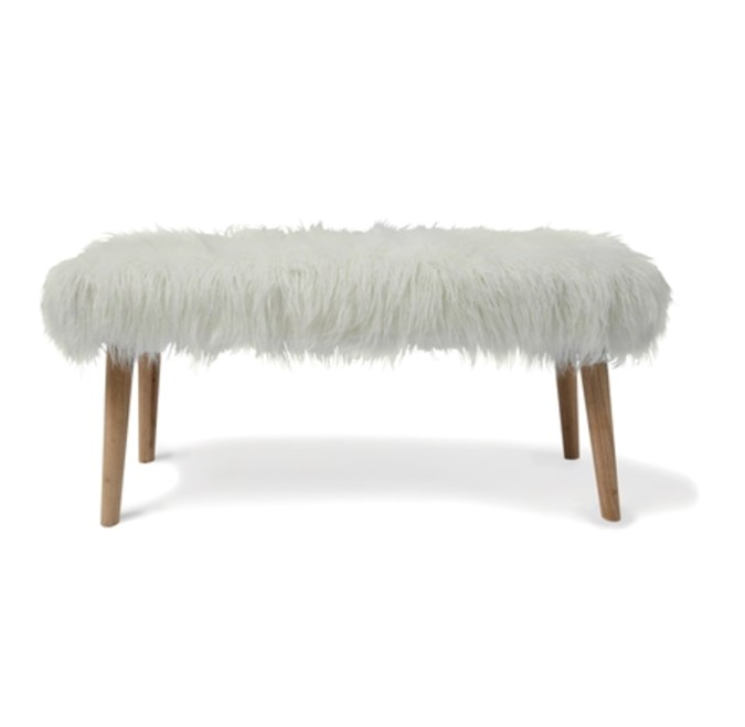 The Mongolian fur bench (credit: Kmart)