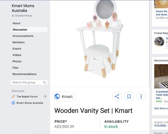 5b22da3f4e Kmart wooden vanity on sale for thousands of dollars | Practical ...