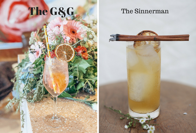 Shannon Rosie's G&G cocktail (left) and The Sinnerman mocktail (right)
