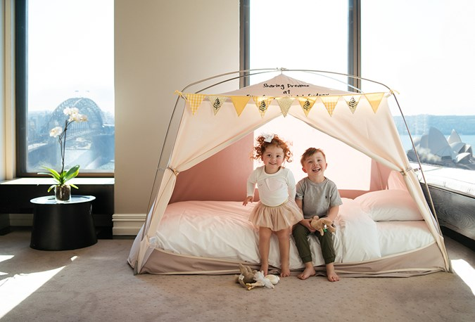 Hanging out in a kid-sized tent at The Four Seasons, Sydney