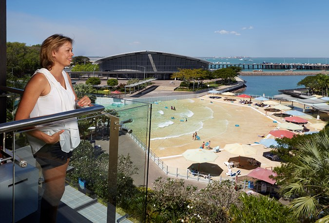 Views of Darwin's wave pool from the Vibe hotel