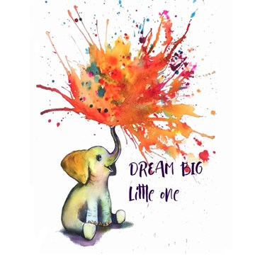 Dream Big Little One Baby Elephant Wall Art