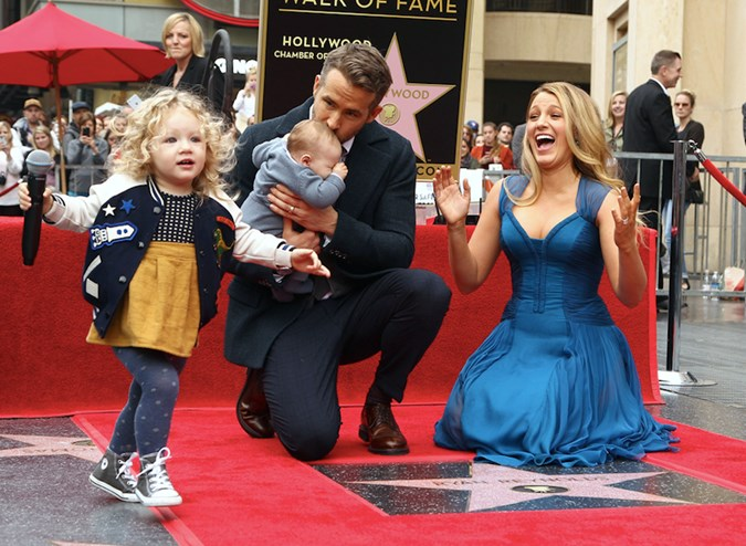 James with Blake Lively, Ryan Reynolds and little sister Inez