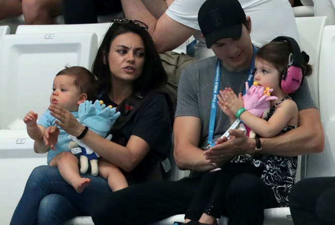 Mila Kunis, Ashton Kutcher with Wyatt and Dimitri