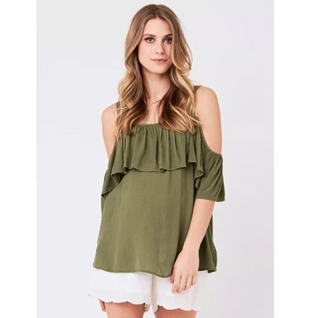 Crinkle Off Shoulder Frill Top