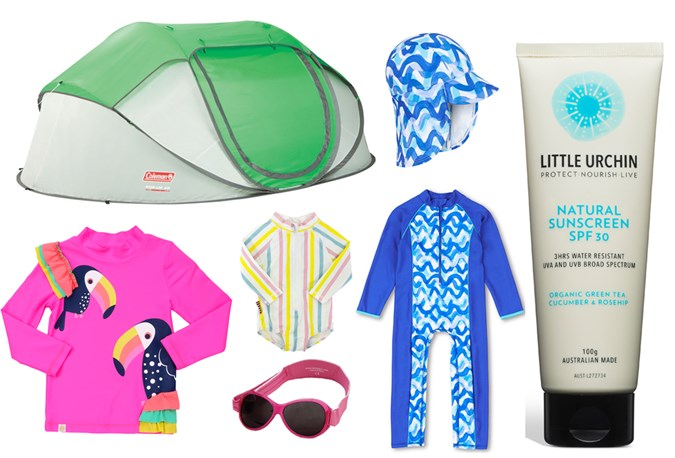 Everything but the kitchen sink... The sun smart kit: A pop-up tent, to keep the littlies in the shade, Rays Outdoor, member price, $119; Cancer Council Victoria Blue Waves Legionnaires hat, $$22.95, and All-In-One, $44.95; Little Urchin Natural Sunscreen, $24.95 - Avoid prolonged exposure in the sun, Wearing protective clothing, hats and eyewear when exposed to the sun); Baby Banz sunglasses, $24.95; Sooki Baby Multi Stripe All In One Zip Rashie, $42.95; Cancer Council Girls Long Sleeve Rash Vest 50+UPF available at Big W, $20.