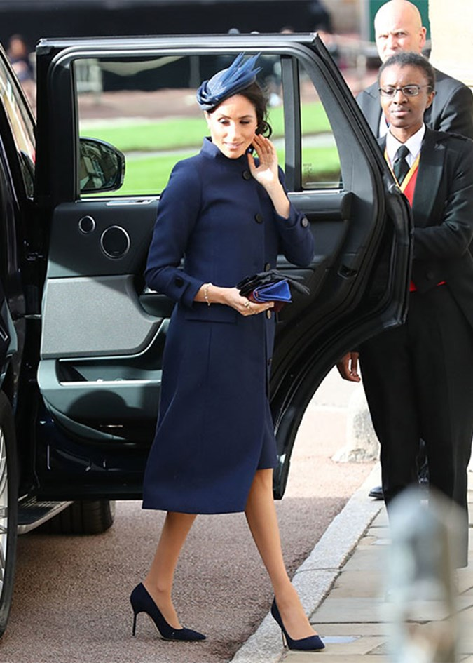 Meghan arrives at Eugenie's wedding