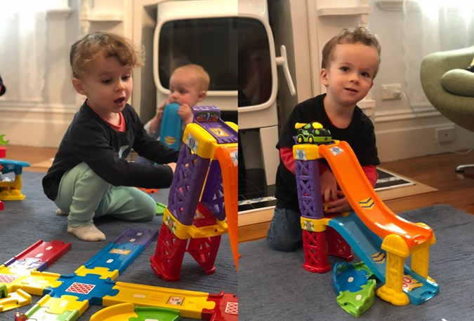 The Toot-Toot Drivers Racing Rampway, $24.95. (sold separately) is a worth while addition. Our little roadt-testers loved launching vehicles off their ramp!